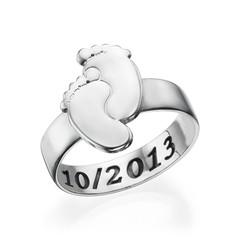 Graveerbare Babyvoeten Ring in 925 Zilver Productfoto