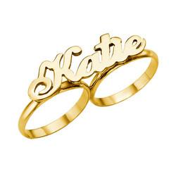 14k Goud Twee Vinger Naam Ring Productfoto