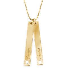 Verticale Bar ketting met diamant in Goud Vermeil Productfoto