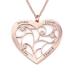 Rosé-vergulde hartjes levensboom ketting met diamant Productfoto