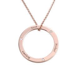 Gepersonaliseerde ring mama ketting met diamant in rosé-vergulde Productfoto