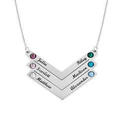Sterling zilveren Geboortesteen gepersonaliseerde familie ketting Productfoto