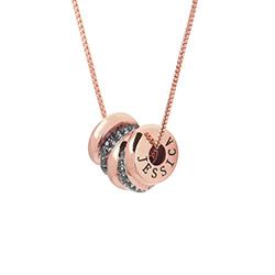 Aangepaste Gegraveerde Kralen Ketting in 18K Rosé Goud Verguld Productfoto