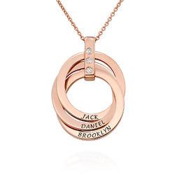 Russische Ring Ketting met Diamanten in 18K Rosé Goud Verguld Productfoto