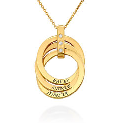 Russische Ring Ketting met Diamanten in 18K Goud Vermeil Productfoto