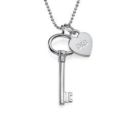 Zilveren (0.925) Sleutel Ketting met Letter en met Graveerbaar Hartje Productfoto
