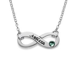 Gegraveerde Geboortesteen Infinity Ketting in 925 Zilver Productfoto