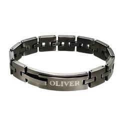 Zwarte Roestvrij Stalen Mannen Armband met Gravering Productfoto