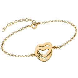 Armband met Ineengestrengelde Harten en Diamanten in Verguld Goud Productfoto