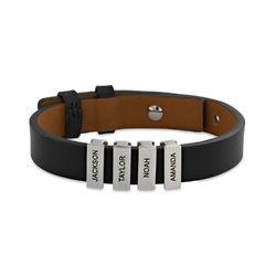 Zwarte leren armband voor heren met gepersonaliseerde zilveren kralen Productfoto