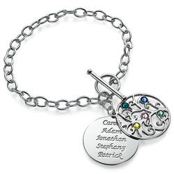 Filigraan Stamboom Armband met Geboortestenen in 925 Zilver Productfoto