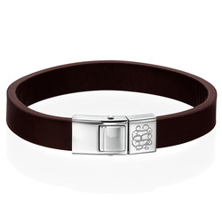 Lederen Armband met Monogram voor Heren Productfoto