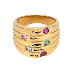 Moeder Ring met Vijf Stenen Goud Verguld - Groot Formaat Productfoto