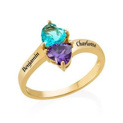 Gepersonaliseerde Hart Geboortesteen Ring in Goudkleur Productfoto