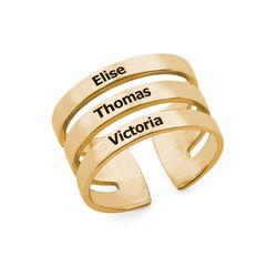 Ring met drie namen in Goud Verguld Vermeil Productfoto