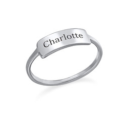 Zilveren Gegraveerde Ring met Naamplaat Productfoto