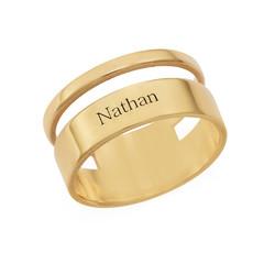 Asymmetrische Vergulde Ring met Naam Productfoto