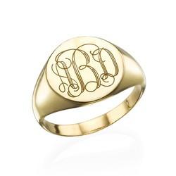 Zegel Ring met Gegraveerd Monogram in Goudkleur Productfoto