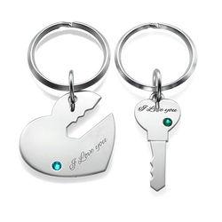 Hart en Sleutel Sleutelhanger voor Koppels in 925 Zilver Productfoto