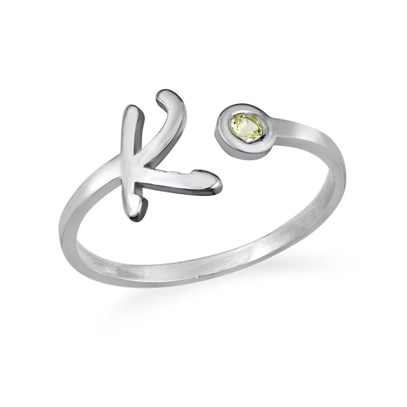 Åpen ring med bokstav og fødselsstein i sølv - 1