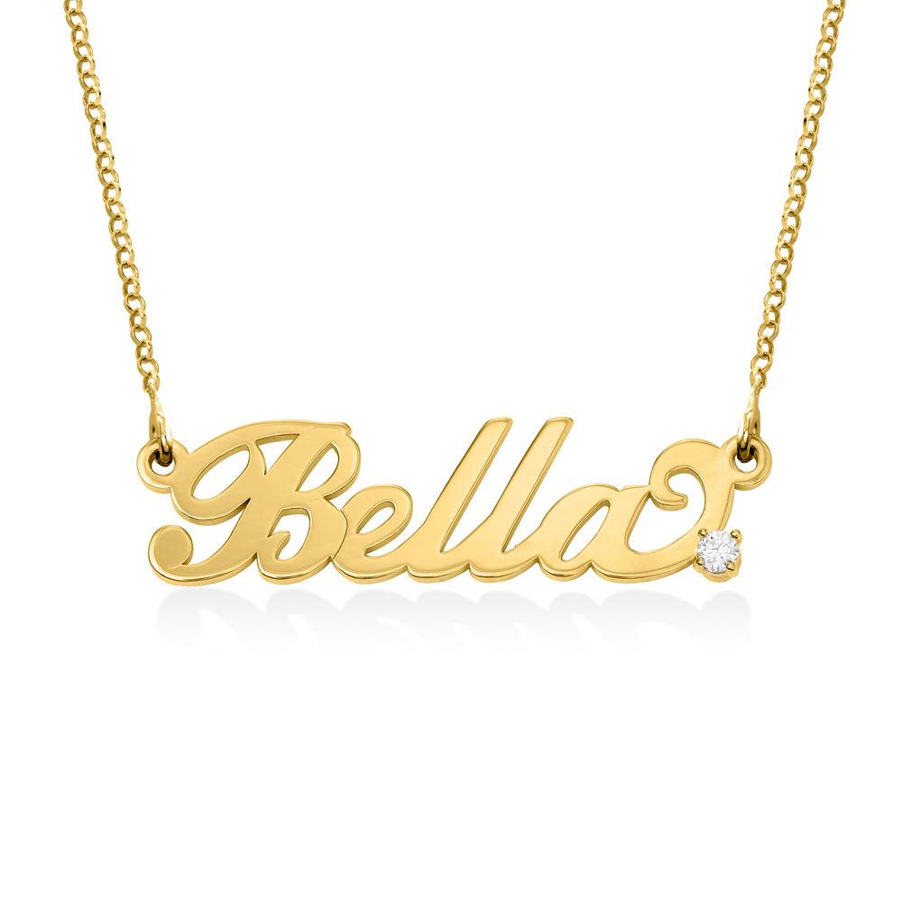 Lite navnesmykke med diamant i Carrie-stil - 18k gullbelegg