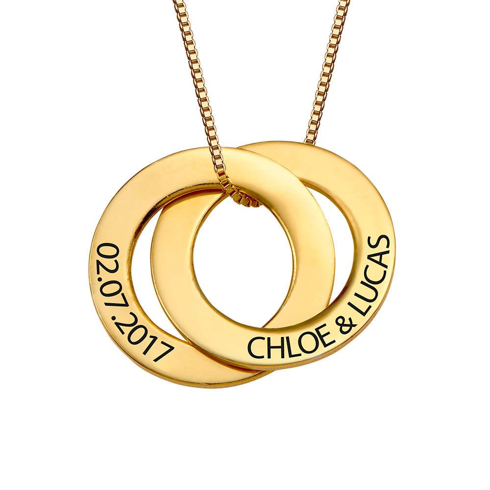 Forgylt russisk ring halskjede med 2 ringer - 1