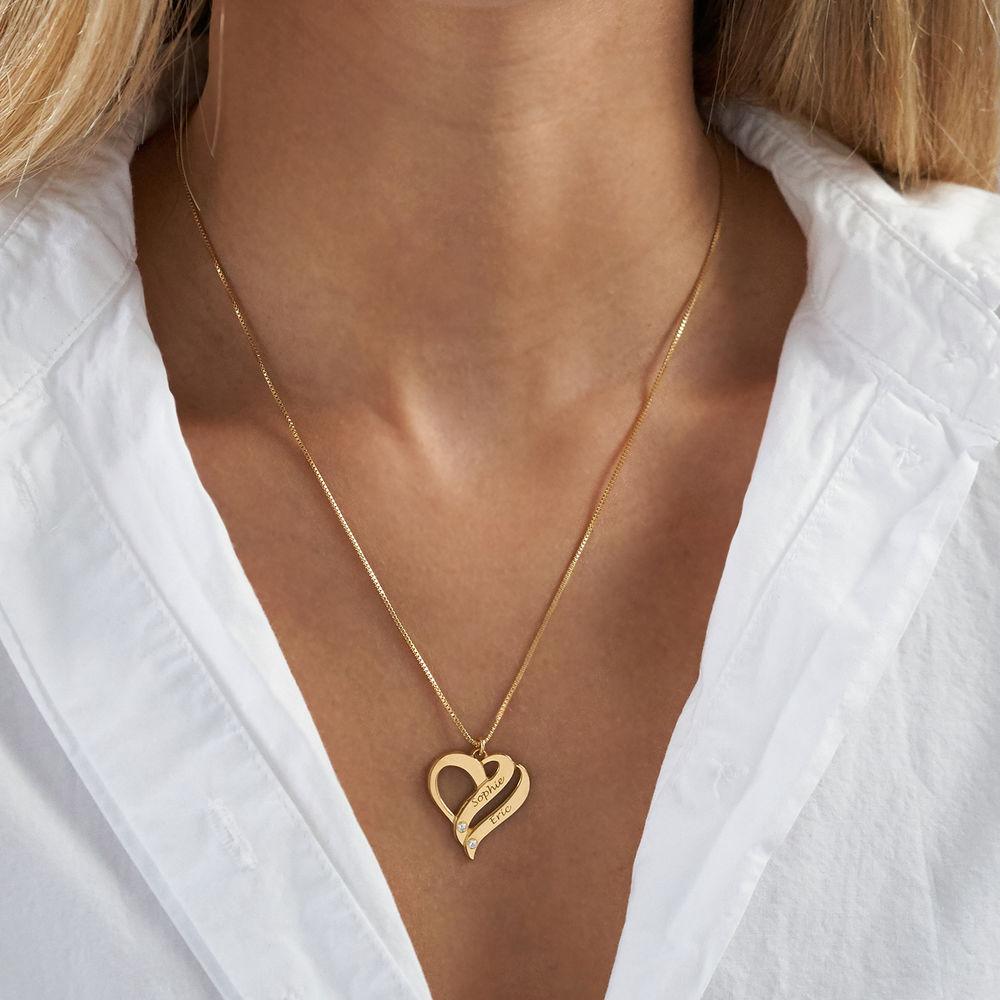 Dobbelt hjerte smykke med gravering og diamanter i gull vermeil - 2