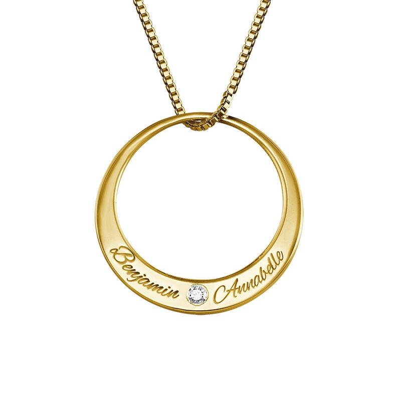 Rundt halskjede med diamant i gullbelegg