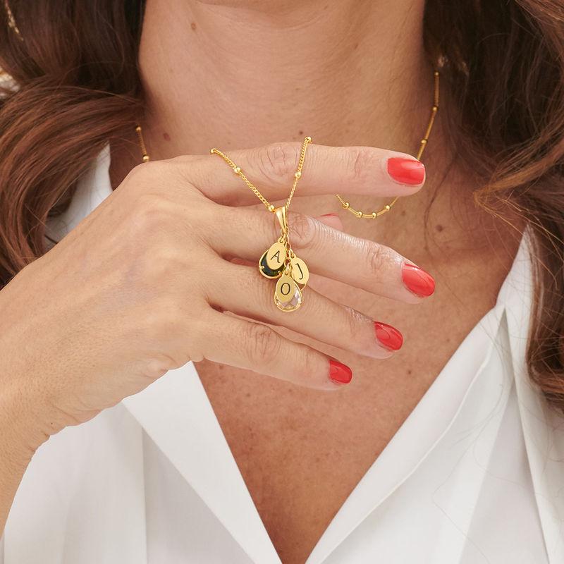 Tilpasset gullbelagt månedsstein smykke med dråpe for mamma - 3