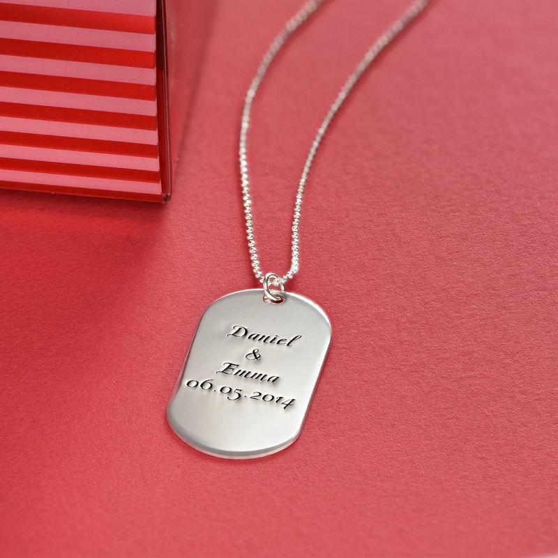 Personlig dog tag smykke i håndskriftstil i sølv - 3
