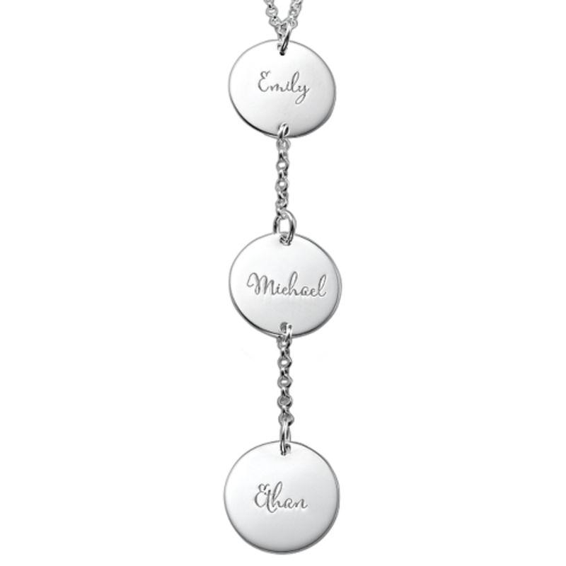 Personlig Y-formet smykke med plater i sterlingsølv