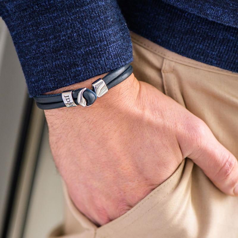 Inngravert anker armbånd for menn i sølv - 3