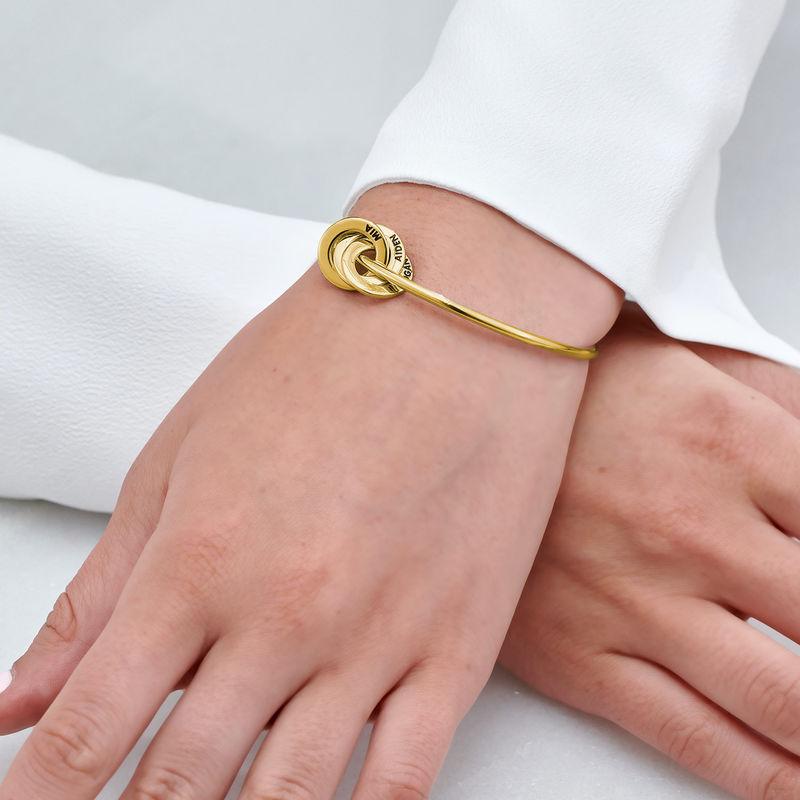 Russisk bangle-armbånd med runde charms i 18k gullbelegg - 3