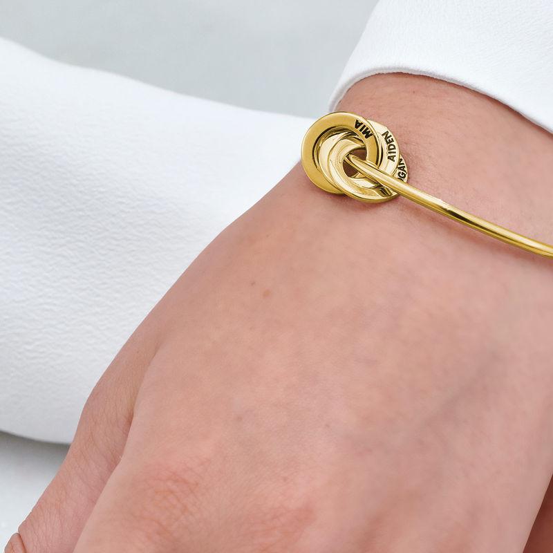 Russisk bangle-armbånd med runde charms i 18k gullbelegg - 4