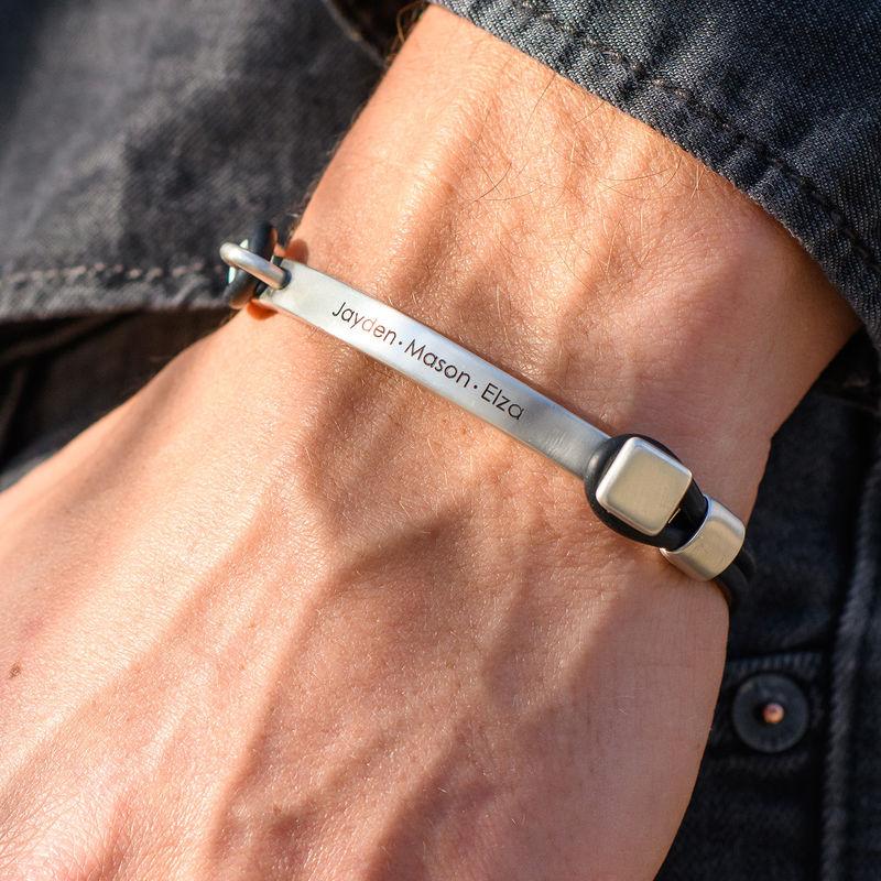 Personlig tilpasset gummi armbånd med gravert plate i sølv - 3