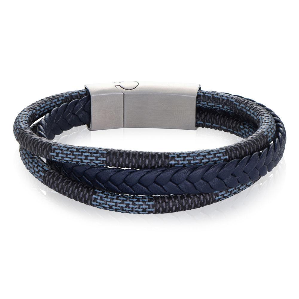 Herrearmbånd 3-lags blå og grå flettet skinn og rustfritt stålplate - 1