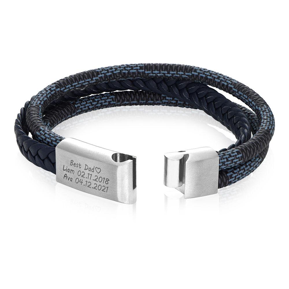 Herrearmbånd 3-lags blå og grå flettet skinn og rustfritt stålplate - 2