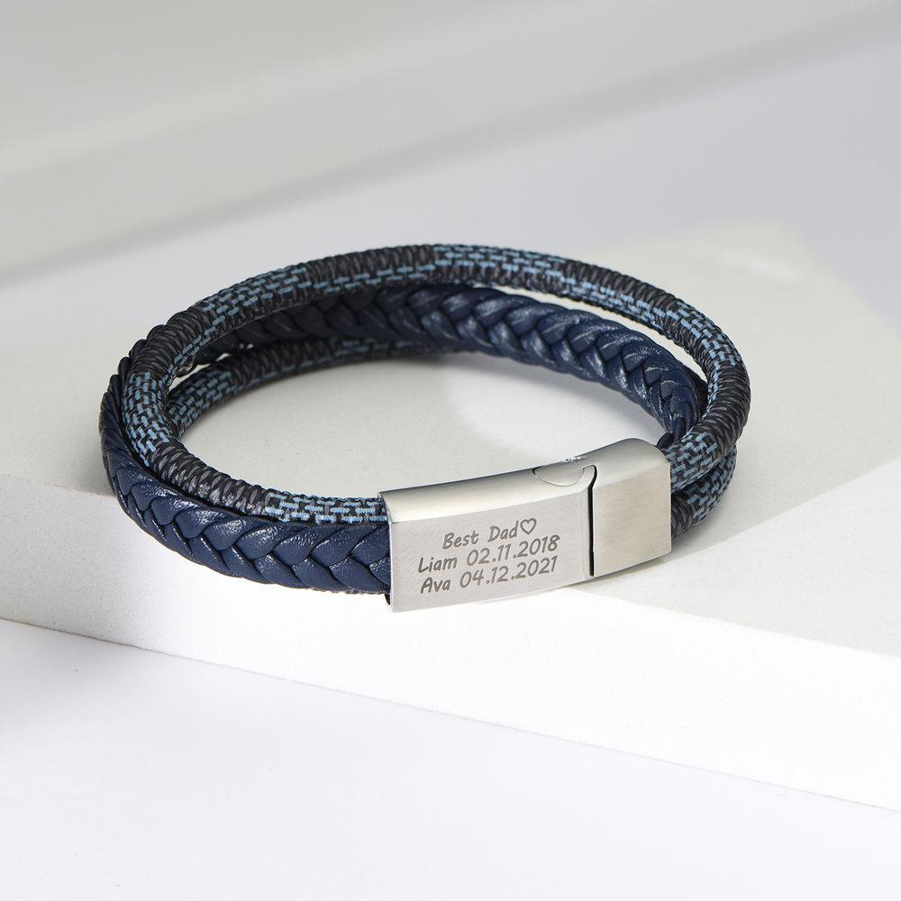 Herrearmbånd 3-lags blå og grå flettet skinn og rustfritt stålplate - 3