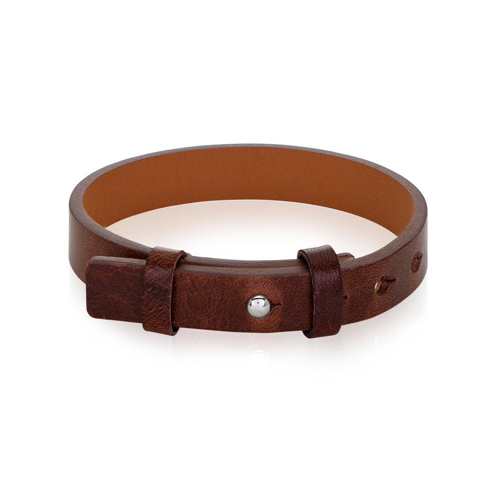 Armbånd for menn i totalt brunt skinn - 1