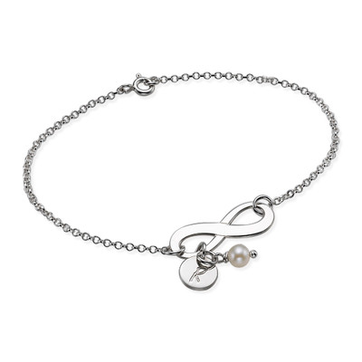 Evighetsarmbånd med bokstav og perle i sølv