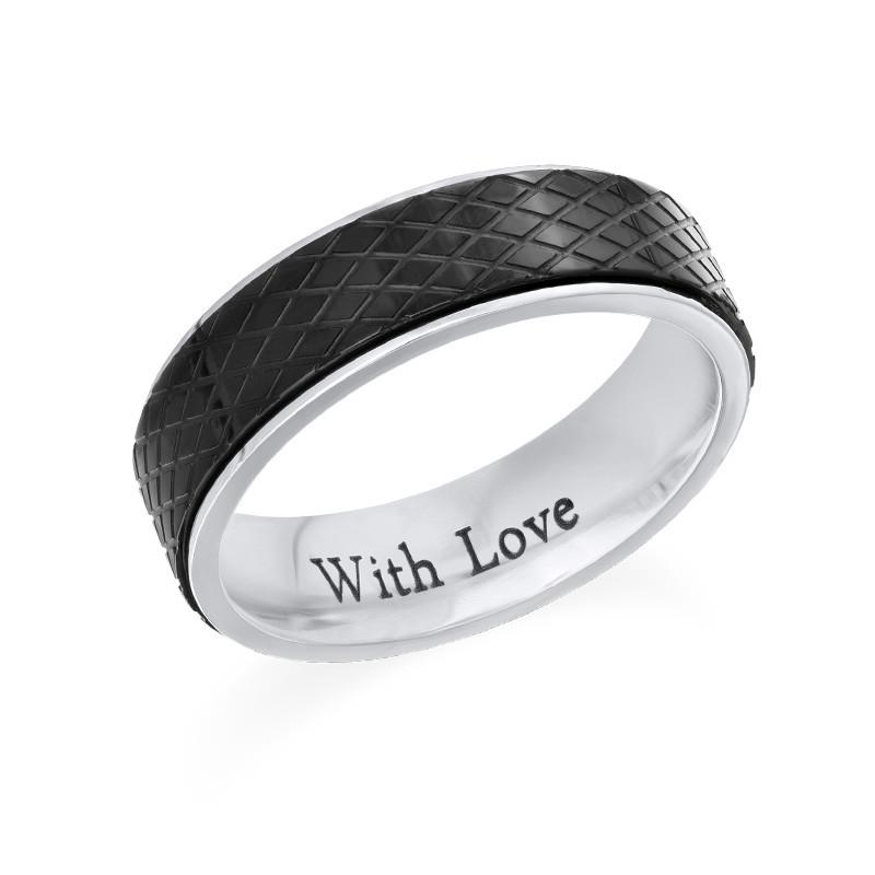 Ring for menn i rustfritt stål – svart og sølv