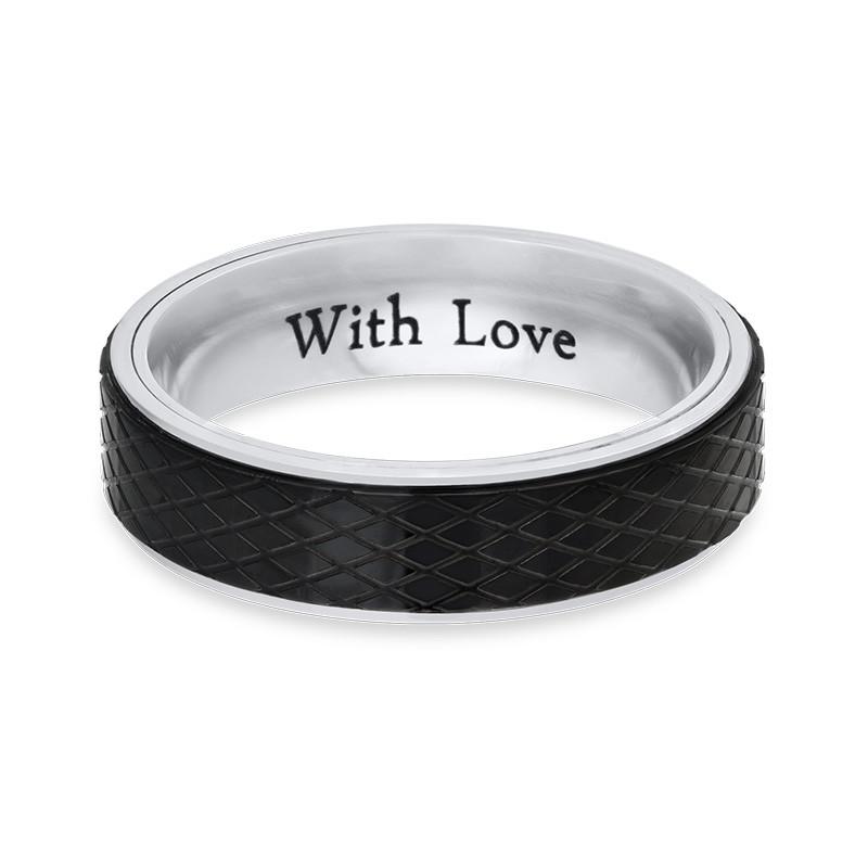 Ring for menn i rustfritt stål – svart og sølv - 1
