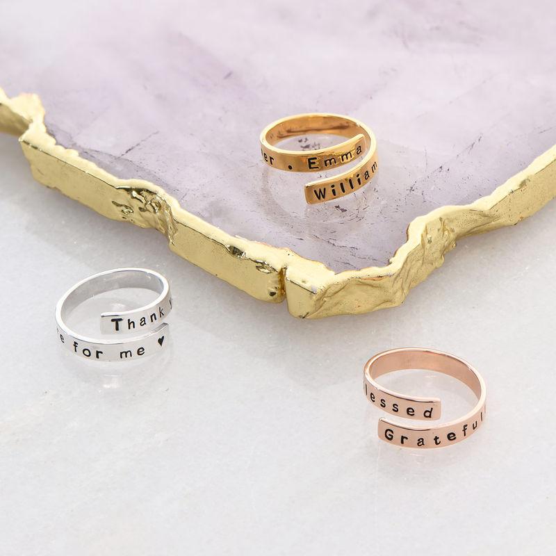 Gravert ring wrap med rosegullbelegg - 3
