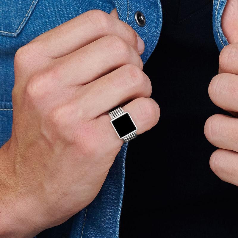 Personlig tilpasset firkantet svart onyx stein ring til menn med gravering - 3