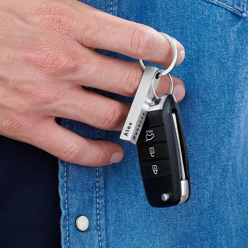 Personlig 3D-stav nøkkelring til menn i Rustfritt stål - 2