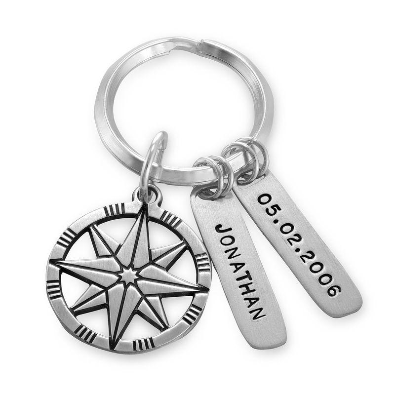 Personlig nøkkelring med kompass i sterlingsølv