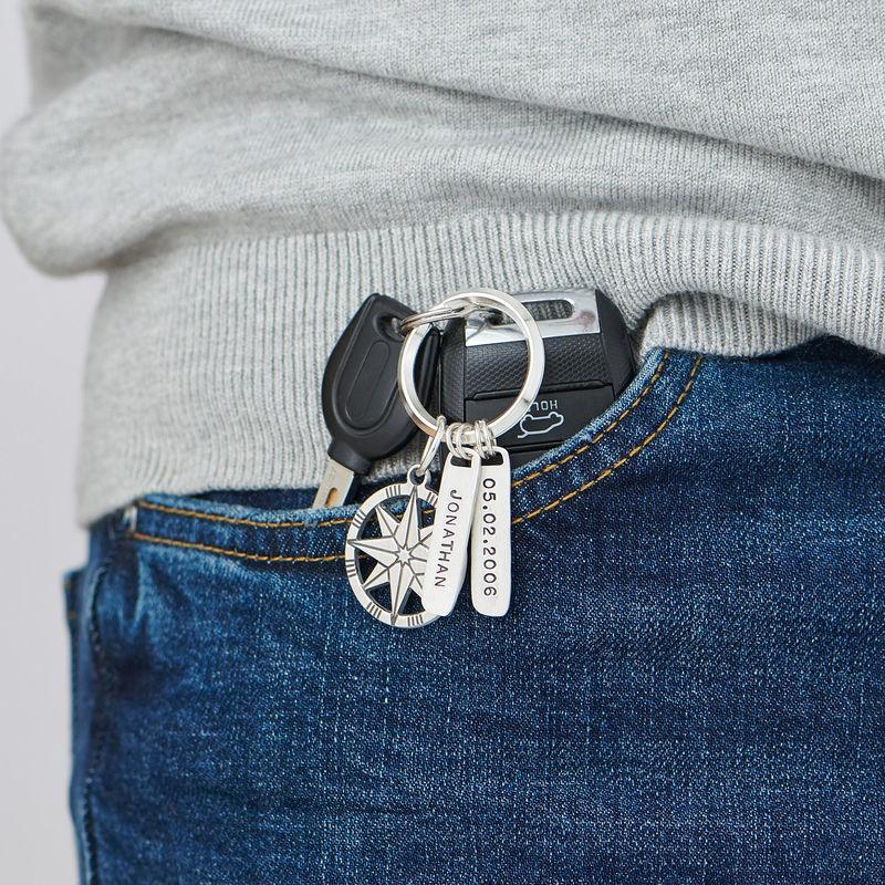 Personlig nøkkelring med kompass i sterlingsølv - 1