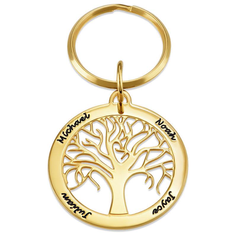 Personlig nøkkelring med familietre i gullbelegg