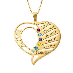 Hjerteformet månedssteinsmykke til mamma i 14K gull produktbilde