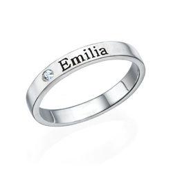 Stabelbar ring med navn i sølv med diamant produktbilde
